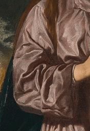Detalle pliegues Inmaculada. Londres, National Gallery.