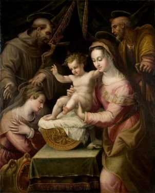 Lavinia Fontana: Sagrada Familia con Santa Margarita y San Francisco. Davis Museum and Cultural Center - Wellesley, Massachusetts.