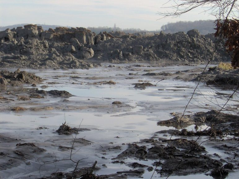 A view of the TVA Kingston Fossil Plant coal ash spill, 1 mile from the retention pond that spilled into the Emory River. The pile of ash in the photo is 20-25 feet high, and stretches for two miles.
