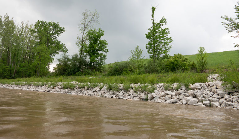 White boulders on a section of riverbank