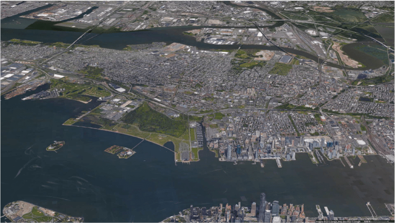 Aerial Jersey City Google Maps