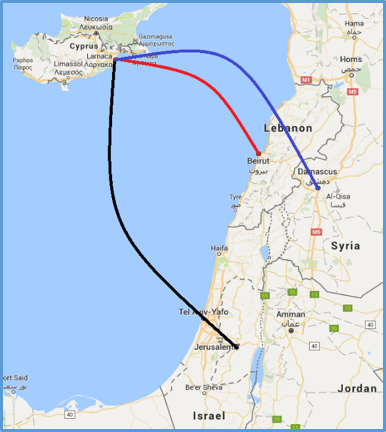 Distances from Cyprus capital Larnaca