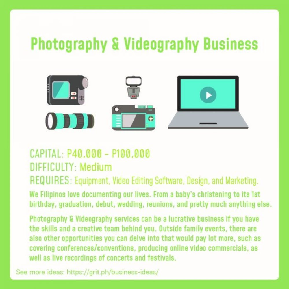 small business idea photography videography