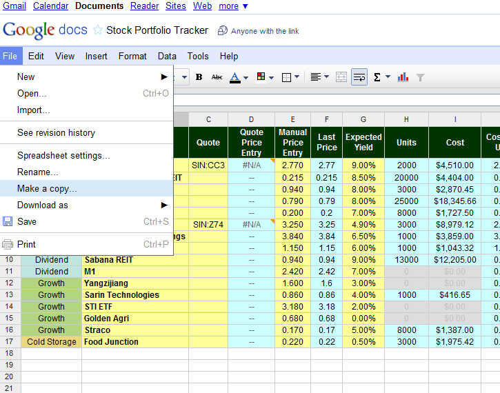 Free Online Investment Stock Portfolio Tracker Spreadsheet