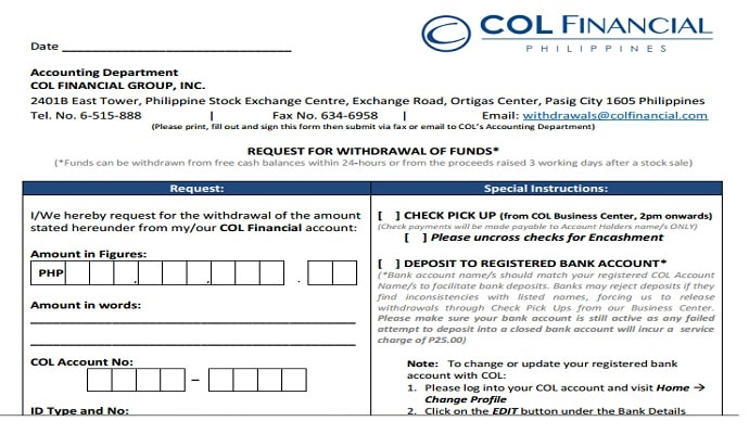 How to Withdraw Funds in COLFinancial Account