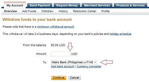 how to send money from PayPal to your bank account