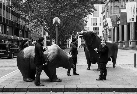 bull and bear at frankfurt stock exchange