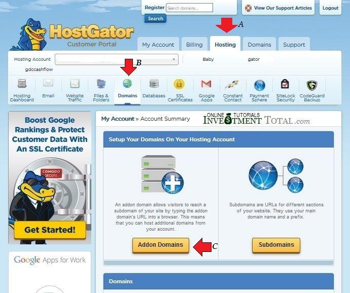 hostgator addon domain set up