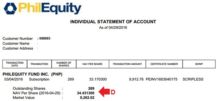 philequity individual statement of account