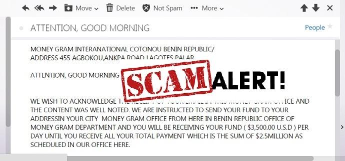 moneygram scam email report see sample format online