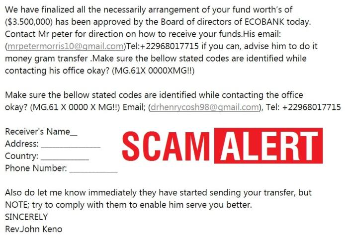 Scam Alert Ecobank Internet Banking Used in Scam Email