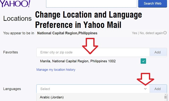 change location and language preferences in Yahoo mail account