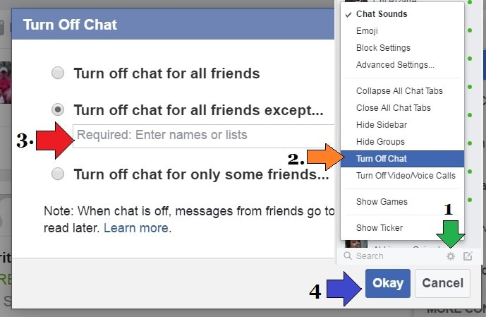 turn on facebook chat for specific friends-min