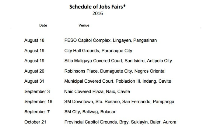 Upcoming Job Fair Schedule from POEA 2016