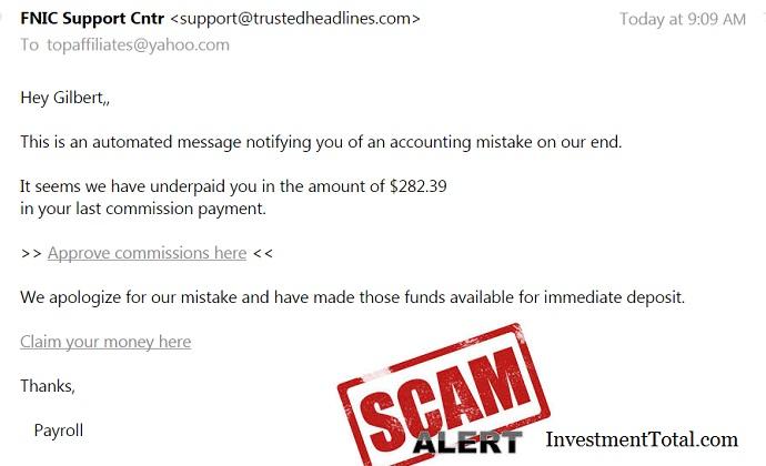 FNIC Scam Alert Email Message