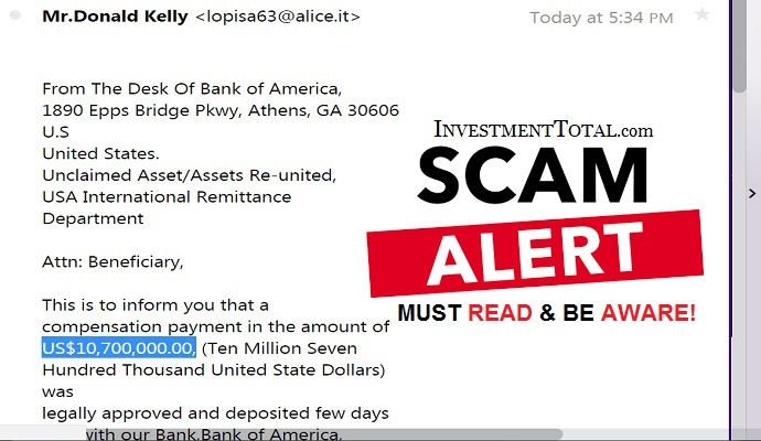 Bank of America $10,700,000.00 Compensation Payment (Scam Alert)