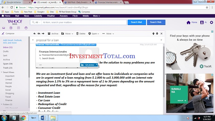 Finanzas Internacionales Offers Investment, Real Estate & Car Loans Online (Scam Alert)
