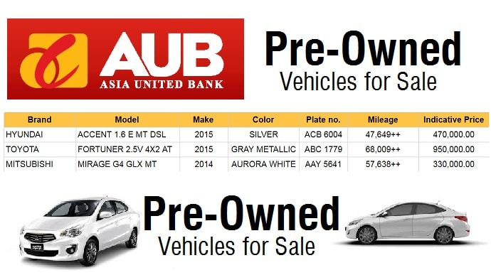 Used Cars For Sale Philippines At Asia United Bank
