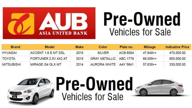 Used Cars for Sale Philippines at Asia United Bank (Fortuner, Mirage, Accent)