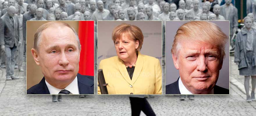 Image result for angela merkel standing up to Donald Trump and Vladimir Putin