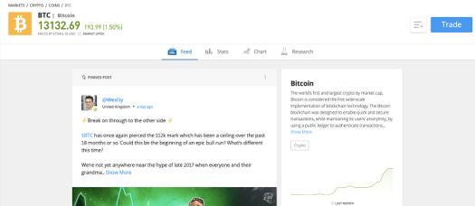 Bitcoin homepage on eToro desktop platform