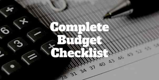 your complete monthly budget checklist