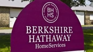 A Berkshire Hathaway (BRK.A, BRK.B) sign sits out front of an office in Lafayette, Indiana.