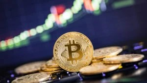 image of bitcoin to represent cryptocurrency stocks