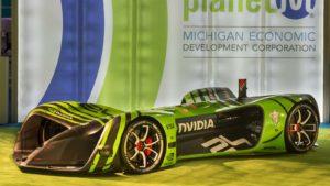 Un'auto da corsa con tecnologia Drive PX 2 di Nvidia (NVDA) parcheggiata.