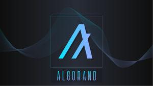 Algorand logo in light blue against a simple dark-colored, futuristic-looking background