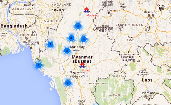 Myanmar flood map