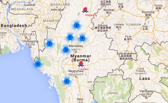 Myanmar flood map