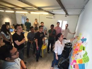 Brainstorming session in the workshop room