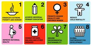 The Millennium Development Goals are a UN initiative. The Millennium Development Goals (MDGs) are the eight international development goals that were established following the Millennium Summit of the United Nations in 2000