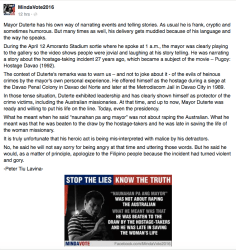 Peter Liu Tavina on facebook sees this is an opportunist attempt by Duterte's detractors