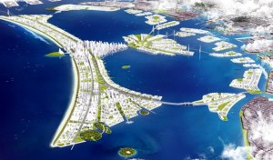An artist's impression of Jakarta planned sea wall development.