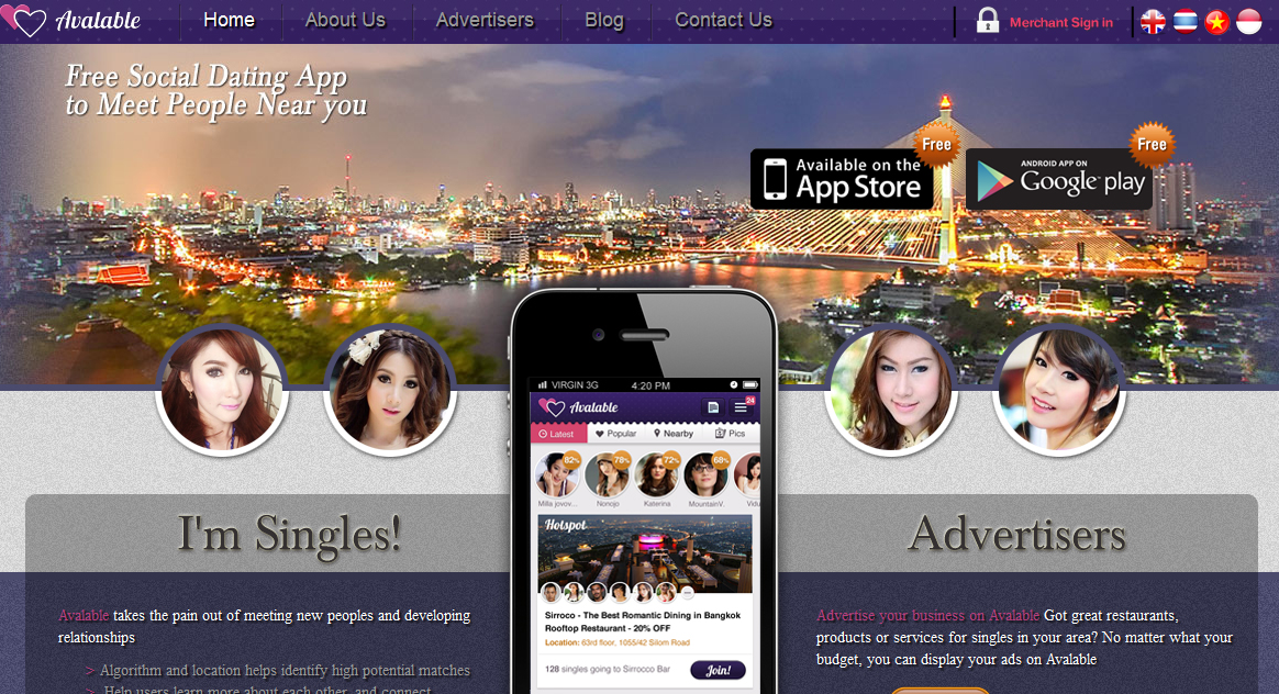 Avalable, the Facebook integrated app for Thai singles.