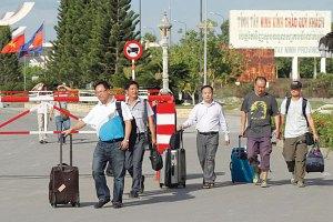 Businessmen fleeing