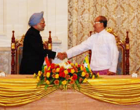 Manmohan Singh And Thein Sein