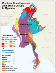 Myammar ethnic map