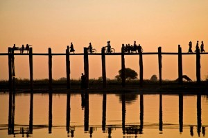 Myanmar crossing bridge