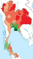 Thai Provinces by GDP per capita. Green is wealthiest, red poorest.