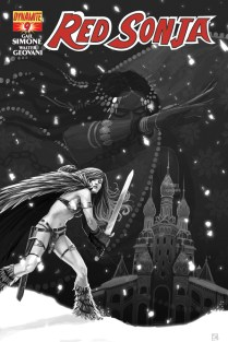 RED SONJA #9 HANS BLACK AND WHITE COVER