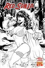 RED SONJA #11 LUPACCHINO BLACK AND WHITE COVER