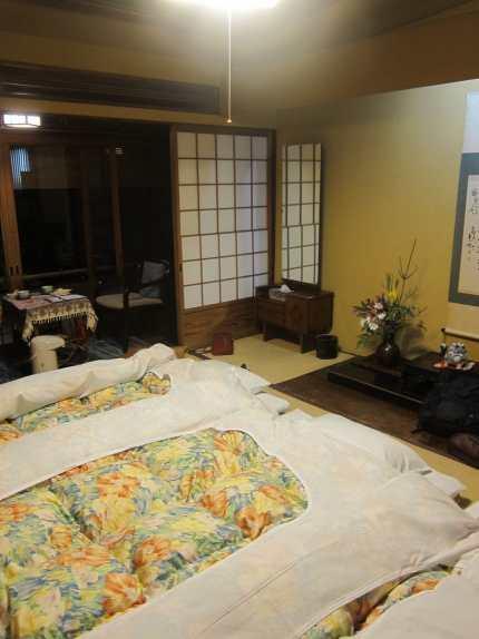 Sleeping on tatami mats