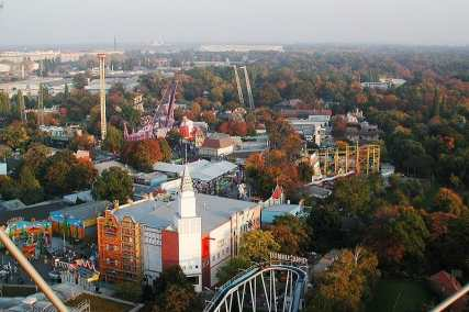 Prater amusement park from the ferris wheel