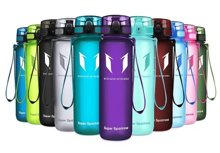 The range of different colour SuperSparrow water bottles lined up.