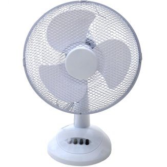 A white table fan with four buttons on the base.