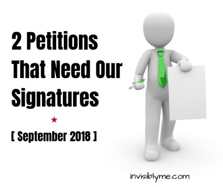 A digital white 3D man to the right wearing a green tie, holding up a piece of paper in one hand and a pen in the other. To the left is the title: 2 petitions that need our signatures.