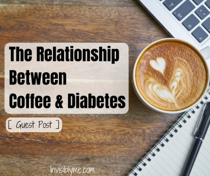 A photo of a cup of coffee, a notebook and pen, and the corner of a MacBook keyboard visible to the right. On the left is the post title : The relationship between coffee & diabetes, guest post.
